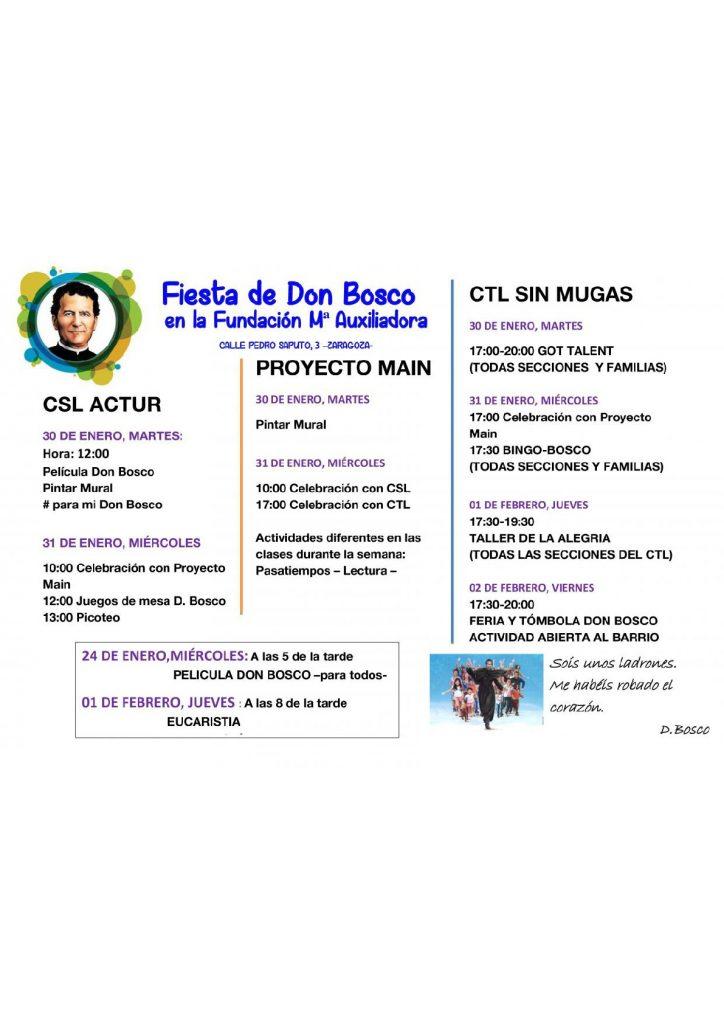 Celebrando Don Bosco en la Fundación María Auxiliadora de Zaragoza