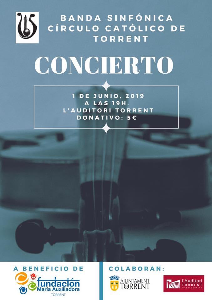 La banda sinfónica del círculo católico de Torrent colaborará con la Fundación María Auxiliadora con un concierto benéfico el próximo 1 de Junio.